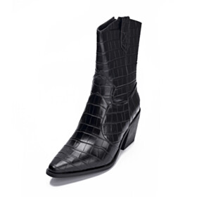 7 cm Mid Heels Black Pointed Toe Faux Leather Booties Fur Lined Comfort Shoes For Women