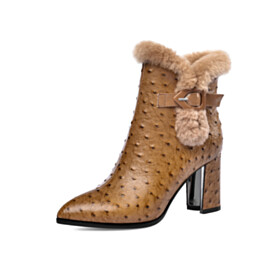 Leather Fur Lined Fluffy Block Heels High Heel Ankle Boots