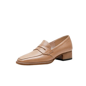 Closed Toe Vintage Slip On Loafers Leather Shoes For Women Shoes Brown Business Casual Shoes 4 cm Low Heel
