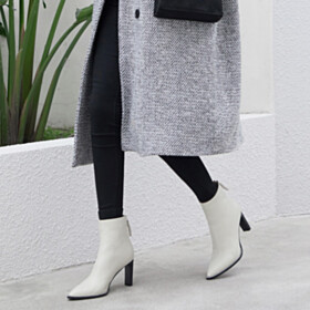 9 cm High Heeled Business Casual Thick Heel Booties Pointed Toe White Leather Fashion
