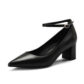 Formal Dress Shoes Pointed Toe Black Office Shoes 5 cm Low Heel Pumps Classic Leather Chunky