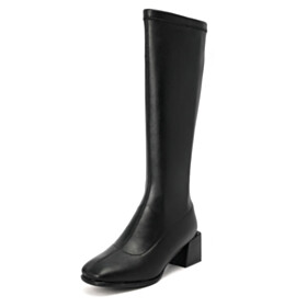 Vintage 2 inch Low Heel Classic Chunky Stretchy Knee High Boots Block Heels