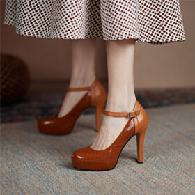 Stilettos Round Toe Shoes Brown High Heel Pumps Business Casual Snake Printed