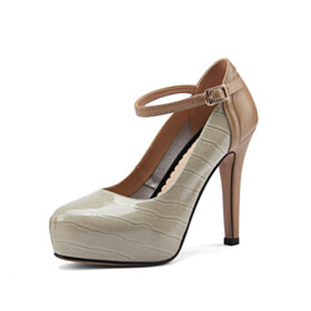 Green Shoes Snake Printed 11 cm High Heel With Ankle Strap Leather Stilettos