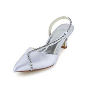 Stilettos 4 cm Low Heel With Rhinestones Slip On White Sandals For Women Beautiful Wedding Shoes