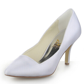 White Dress Shoes Satin High Heels Pumps Womens Shoes Closed Toe Classic Pointed Toe