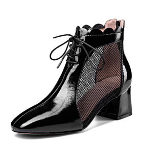 Sandals For Women Low Heels 2021 Block Heels Black Fashion Lacing Up Business Casual Comfort Ankle Boots