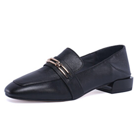 Black Slip On Loafers Flat Shoes Shoes Business Casual Classic
