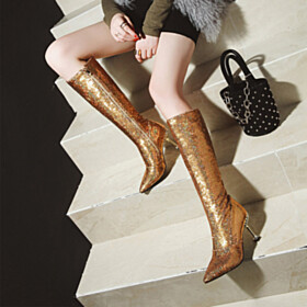 3 inch High Heeled Boots Sparkly Winter Gold Going Out Shoes Pointed Toe