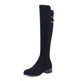 Riding Comfort Chunky Fur Lined Stretchy Knee High Boot Velvet Black Low Heel Fashion
