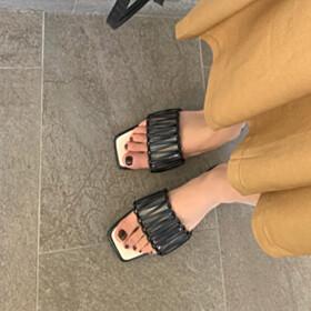 Leather Low Heels Sandals Peep Toe Black Block Heel Beach