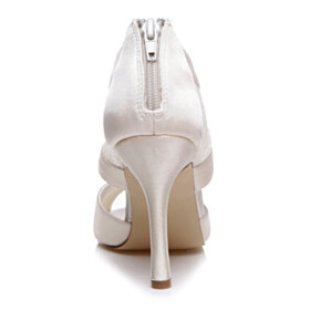 High Heel Womens Sandals Stilettos Lace White