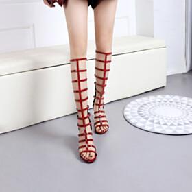 7 cm Mid Heels Peep Toe Modern Gladiator Classic Knee High Boots Burgundy Thick Heel Leather Tall Boot
