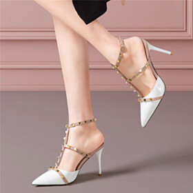 Sexy Sandals For Women Gladiator Studded With Ankle Strap Stiletto Leather High Heels White Designer Classic Pointed Toe
