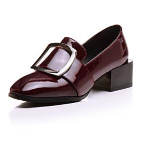 Dress Shoes Patent 2021 Block Heels 4 cm Low Heel Thick Heel Loafers Classic Burgundy