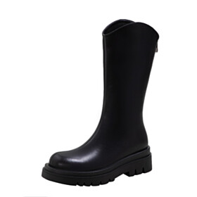 Classic Patent Platform Winter Boot Black Flats Vintage Round Toe