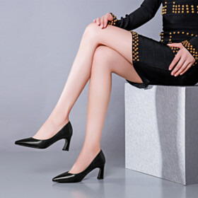 Pointed Toe Leather Pumps Mid Heels Black