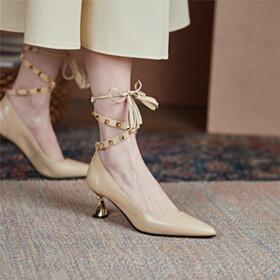 Wrap Around Ankle 6 cm Mid Heels Tassel Beautiful Fashion Stilettos Studded