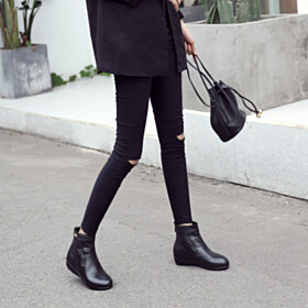 Vintage Flats Fall Comfort Full Grain Leather Closed Toe Black Round Toe Ankle Boots
