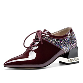 Fashion Sequin Burgundy Block Heel Business Casual Chunky Dress Shoes Mid High Heeled Elegant Sparkly With Rhinestones