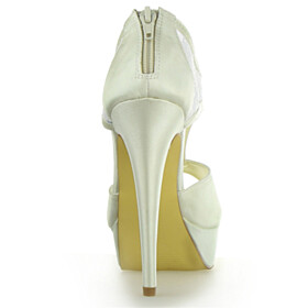Stilettos Beautiful Sandals High Tops Wedding Shoes For Bridal Lace Peep Toe Platform Dress Shoes 5 inch High Heel