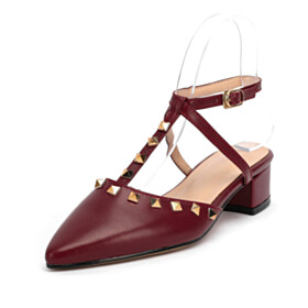 Comfortable Sandals 1 inch Low Heel Studded Block Heel Pointed Toe With Ankle Strap Burgundy