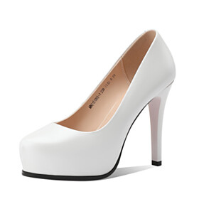 White Dress Shoes 4 inch High Heel Leather Pumps Classic