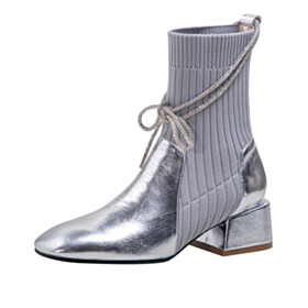 Patent Leather Sparkly Low Heels Fashion Metallic Square Toe Booties Closed Toe Comfort Chelsea Sweater Sock Block Heels Chunky Hee