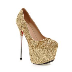 Stiletto Round Toe Red Bottom Sparkly Platform Heel 6 inch High Heel Gold Shoes Pumps