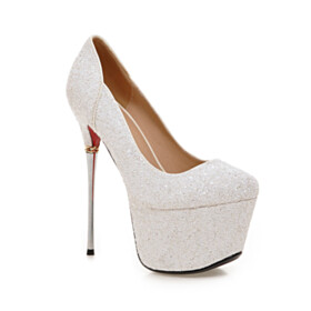 Sparkly Sequin Closed Toe 15 cm High Heels Red Bottom Evening Shoes Platform Pumps