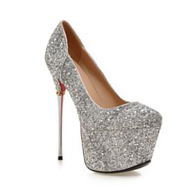 Round Toe Silver Red Bottoms Slip On Platform Stilettos High Heels Glitter Pumps Shoes