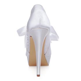 Dress Shoes Stilettos White Platform Heel Wedding Shoes For Bridal Lace 13 cm High Heel