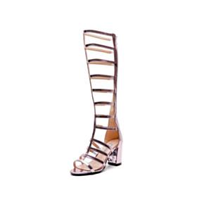 Open Toe 7 cm Heel Fashion Knee High Boots Gladiator Sandal Boots