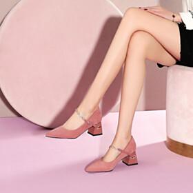 Mauve Ankle Strap Mid Heels Pumps Block Heels