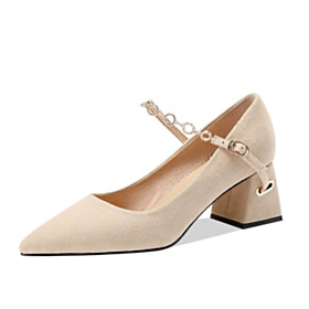 Block Heels Pumps Pointed Toe With Ankle Strap Mid High Heeled Rhinestones Chunky Elegant