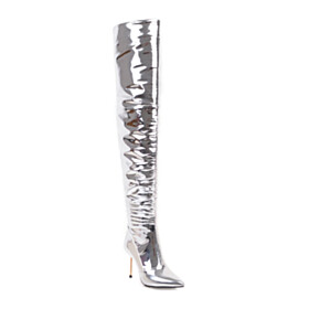 Sparkly 10 cm High Heels Over The Knee Boots Stiletto Heels Fur Lined Tall Boots Red Bottoms Metallic Pointed Toe Stylish