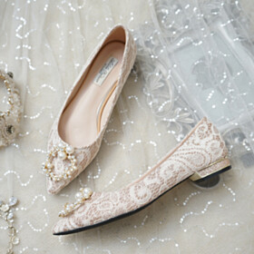 Slip On Lace Flat Shoes Pearls Ballet Champagne