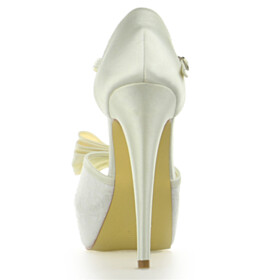 Ankle Strap Lace Dress Shoes Bowknot Stiletto Sandals High Heels Satin Peep Toe Elegant Buckle