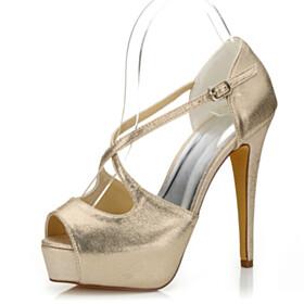 Peep Toe Strappy Glitter Stiletto Platform Heel Evening Shoes Sandals For Women Gold Dance 5 inch High Heel Buckle