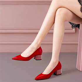 Pumps Office Shoes Chunky Low Heeled Pointed Toe Elegant Block Heels Business Casual Red