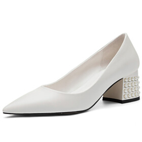 Work Shoes Pumps Fashion Grained Pearls Pointed Toe White 5 cm Low Heel Slip On Beautiful Dress Shoes Block Heel