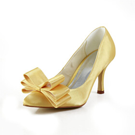 Stilettos 3 inch High Heel Bowknot Pumps Yellow Bridals Wedding Shoes