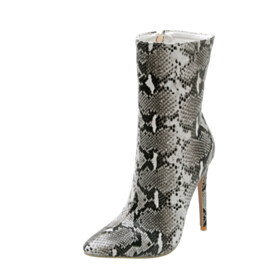 13 cm High Heel Fashion Faux Leather Ankle Boots Snake Print
