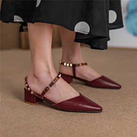 Business Casual Shoes Burgundy Block Heel Sandals 4 cm Low Heel Comfort Going Out Footwear Leather