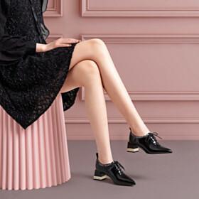 Chunky Rhinestones Black Elegant 2 inch Low Heel Classic Shooties Glitter Pointed Toe Lacing Up Block Heels