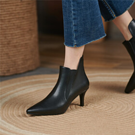 Beautiful Chelsea Boots Mid Heel Leather Stiletto Pointed Toe Comfort Classic Booties Black