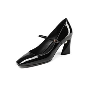 Black Square Toe Leather Mary Janes Thick Heel With Pearls Pumps Fashion Womens Footwear 7 cm Heeled