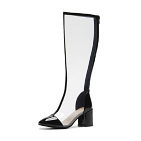 Clear Going Out Footwear Chunky Black Block Heels 6 cm Heel Fashion Knee High Boot