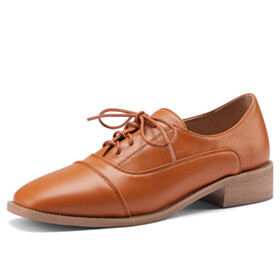 Classic Lace Up Brown Oxford Shoes Comfort Flats