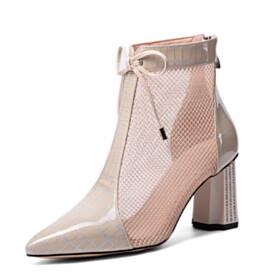 Pointed Toe 3 inch High Heeled Beautiful Block Heel Sandals Booties Business Casual Chunky Hee Rhinestones